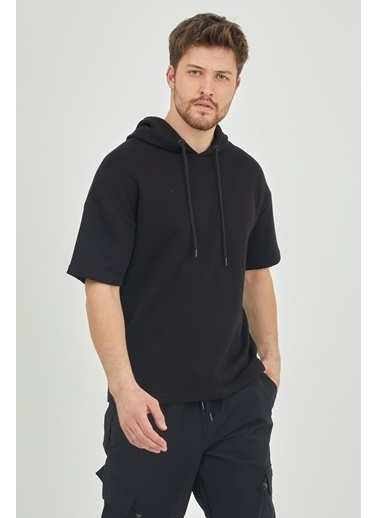 XHAN Ekru Kısa Kol Kapüşonlu Sweatshirt  Siyah